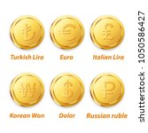 traditional coin vector gold | Shutterstock .eps vector #1050586427