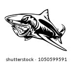toothy great white shark... | Shutterstock .eps vector #1050599591