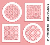 round and square line patterns  ... | Shutterstock .eps vector #1050603011