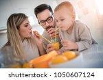 family make fresh orange juice... | Shutterstock . vector #1050607124