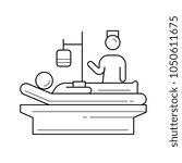 a patient lying in bed vector... | Shutterstock .eps vector #1050611675