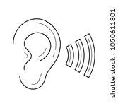 hearing  listen by ear vector... | Shutterstock .eps vector #1050611801