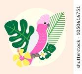 beautiful tropical parrot... | Shutterstock .eps vector #1050616751