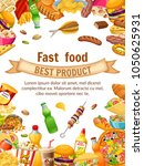 poster fast food. salted nuts ... | Shutterstock .eps vector #1050625931
