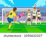football player kicking penalty.... | Shutterstock .eps vector #1050632327