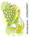 bottle of white light wine  a...   Shutterstock .eps vector #1050639857