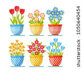 set of red flowers in pot... | Shutterstock .eps vector #1050640454