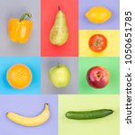 fruits and vegetables on... | Shutterstock . vector #1050651785