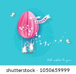 happy easter card with bunny ... | Shutterstock .eps vector #1050659999