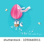 happy easter card with bunny ... | Shutterstock .eps vector #1050660011