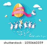 happy easter card with bunny ... | Shutterstock .eps vector #1050660359
