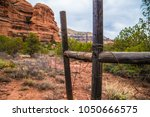 barbed wire rusted wooden fence ... | Shutterstock . vector #1050666575