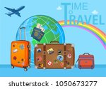 travel suitcases in airport... | Shutterstock .eps vector #1050673277