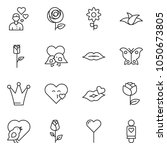 thin line icon set   butterfly... | Shutterstock .eps vector #1050673805