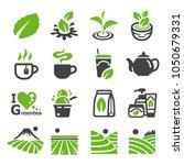 green tea tea icon set | Shutterstock .eps vector #1050679331