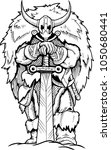 coloring page viking axe... | Shutterstock .eps vector #1050680441