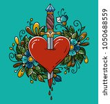 red heart decorated with... | Shutterstock .eps vector #1050688559