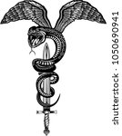 winged snake with sword    Shutterstock . vector #1050690941