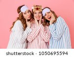 three beautiful young girls 20s ... | Shutterstock . vector #1050695594