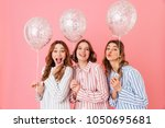 adorable teenage girls 20s in... | Shutterstock . vector #1050695681