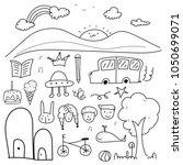 hand drawn doodle lovely vector ... | Shutterstock .eps vector #1050699071