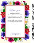 frame with the flowers of... | Shutterstock .eps vector #1050699905