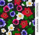 seamless pattern with anemone... | Shutterstock .eps vector #1050709421