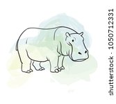hippo. animal sketch on grungy...   Shutterstock .eps vector #1050712331