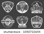 set of white motorcycle... | Shutterstock .eps vector #1050722654