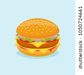 burger with beef  cheese ... | Shutterstock .eps vector #1050724661