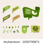 natural tag ribbon and organic... | Shutterstock .eps vector #1050730871