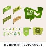 natural tag ribbon and organic... | Shutterstock .eps vector #1050730871