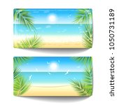 two banners of sand beach at... | Shutterstock .eps vector #1050731189