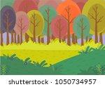 forest landscape. cartoon... | Shutterstock .eps vector #1050734957