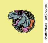 hipster t rex mascot | Shutterstock .eps vector #1050739901