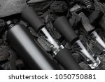 black set of matte bottle of... | Shutterstock . vector #1050750881
