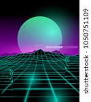 futuristic neon grid lines and... | Shutterstock .eps vector #1050751109