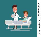 doctor visit to the ward man... | Shutterstock . vector #1050753335