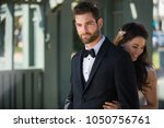 beautiful newlywed couple... | Shutterstock . vector #1050756761