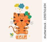 cute tiger girl.cartoon hand... | Shutterstock .eps vector #1050761654