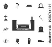 coffin in earth vector icon.... | Shutterstock .eps vector #1050766484