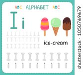 alphabet tracing worksheet for... | Shutterstock .eps vector #1050769679