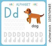 alphabet tracing worksheet for... | Shutterstock .eps vector #1050769685