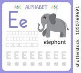 alphabet tracing worksheet for... | Shutterstock .eps vector #1050769691