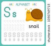 alphabet tracing worksheet for... | Shutterstock .eps vector #1050769715