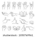 hand gestures contour vector set   Shutterstock .eps vector #1050769961