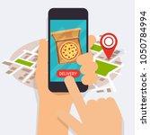 hand holding mobile smart phone ...   Shutterstock .eps vector #1050784994