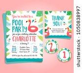 flamingo birthday invitation ... | Shutterstock .eps vector #1050838997