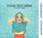 young muslim woman wearing... | Shutterstock .eps vector #1050841007