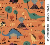 seamless pattern with funny... | Shutterstock .eps vector #1050878267
